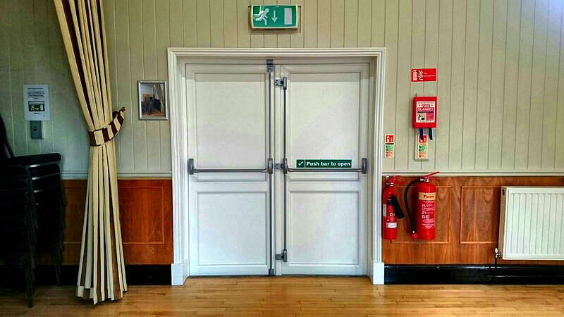 Gone are the drafty original wooden doors and in their place we have new upvc doors meaning no more drafts helping us further improve the halls energy ... & New emergency exit doors - Rayne Village Hall